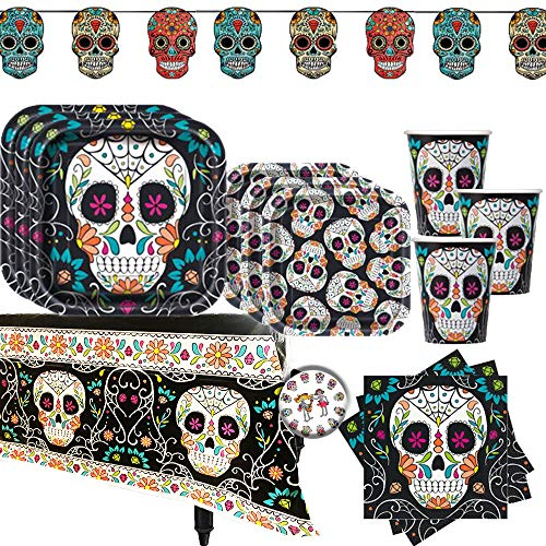 Dia De Los Muertos Day Of The Dead Sugar Skull Halloween Party Pack for 20 with Dinner and Dessert Plates, Napkins, Cups, Tablecover, Banner, Swirls, Table Decoration, and Pin