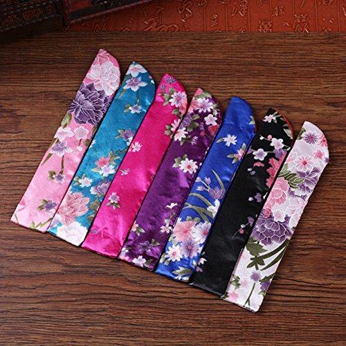 Funda para abanico plegable, tela de seda, diseño floral,