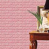 FAMILIZO PE de Espuma de 3D Wallpaper DIY Pared Pegatinas Decoración de Pared en Relieve Piedra de ladrillo (60_x_60_cm, Rosa)