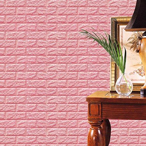 Ouneed® PE Mousse Stickers Muraux de Brique en relif 60 X 60 X 0.8cm (Rose)