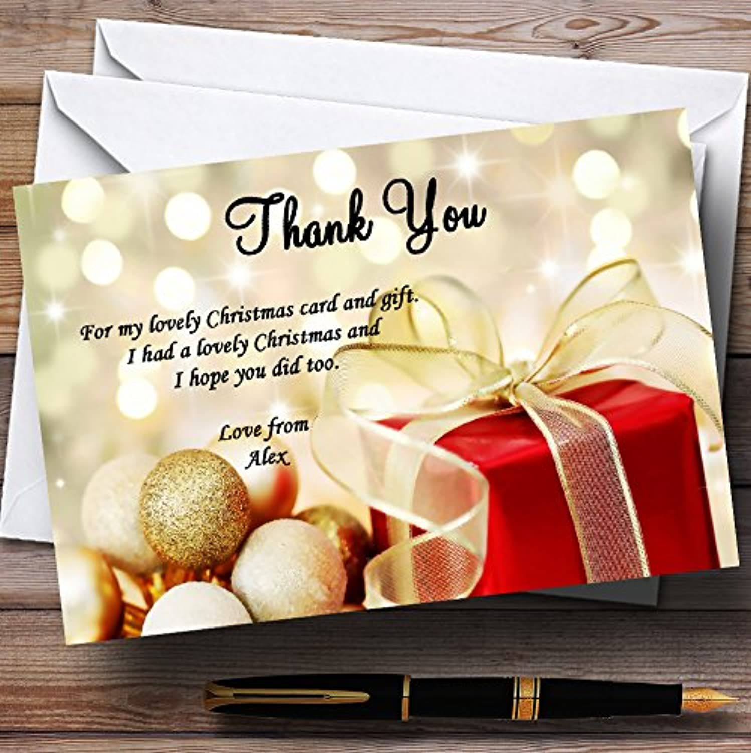 Red Present Personalised Christmas   New Year   Holiday Party Thank You Cards