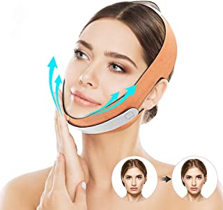 CHARMINER Face Slimming Strap,V Shaped Line Chin Up Face Lift Double Chin Belt, Face Shaper Band Eliminates Wrinkles Sagging Anti-aging Painless Firming Mask for Women Orange