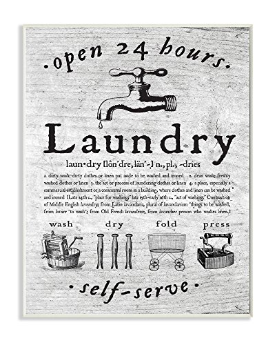 Stupell Home Décor Everything Laundry Vintage Wall Plaque Art, 10 x 0.5 x 15, Proudly Made in USA
