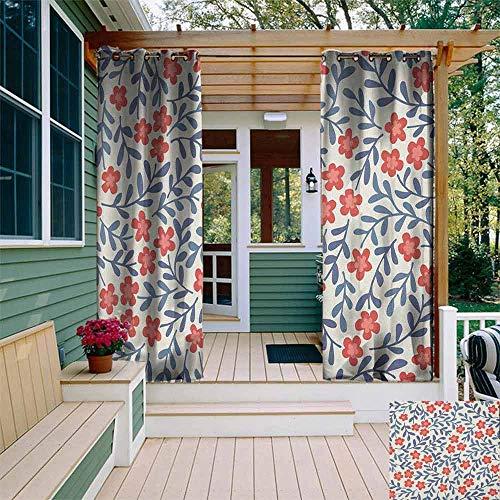 Pergola Gordijn Bloemen Lente Afbeeldingen met Warm Vintage Kleuren Bladeren Sierbloemen Ontwerp gordijnen voor woonkamer W72