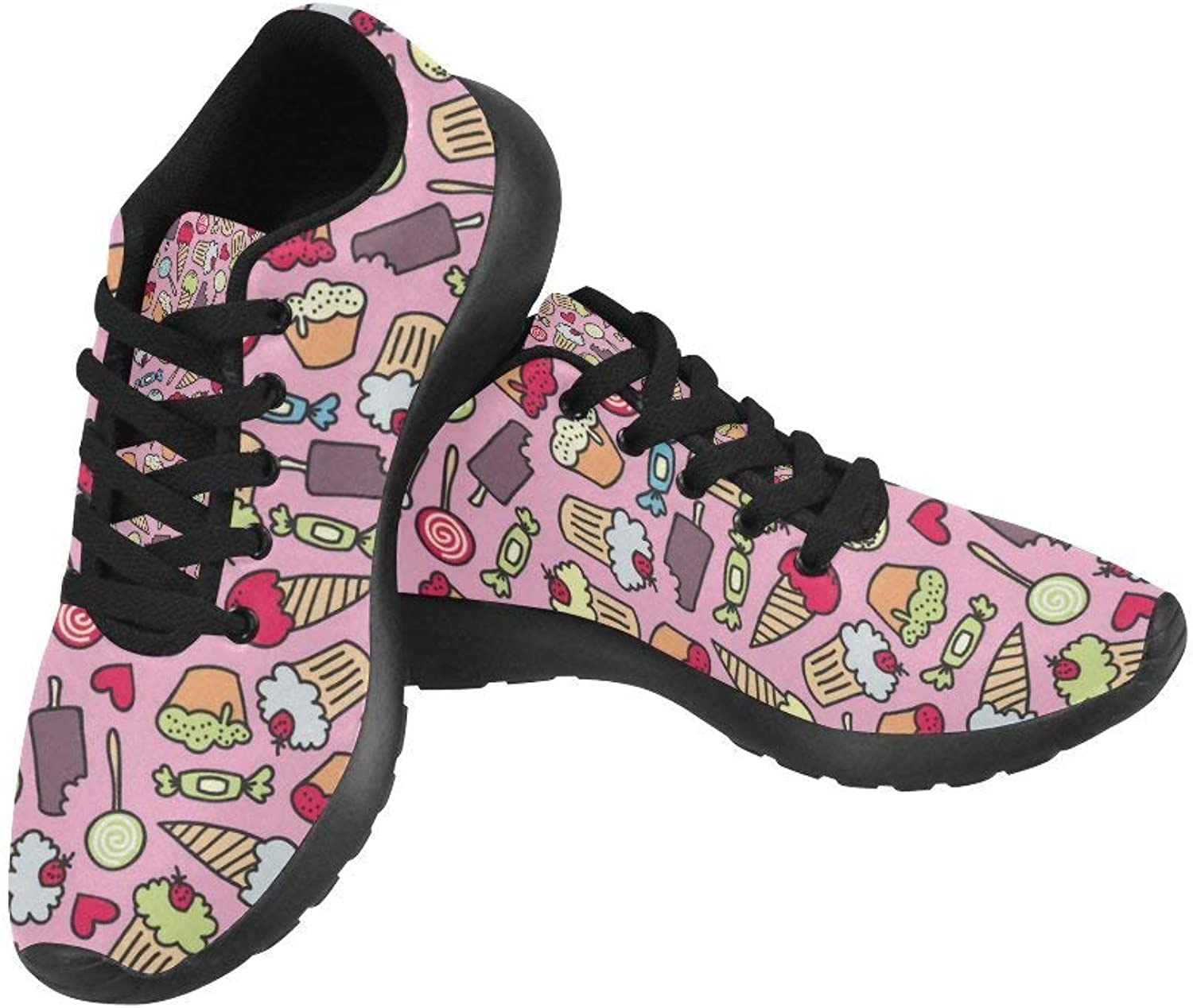 InterestPrint Graphic Cake and Candy Pattern Print On Women's Running shoes Casual Lightweight Athletic Sneakers US Size 6-15 Black