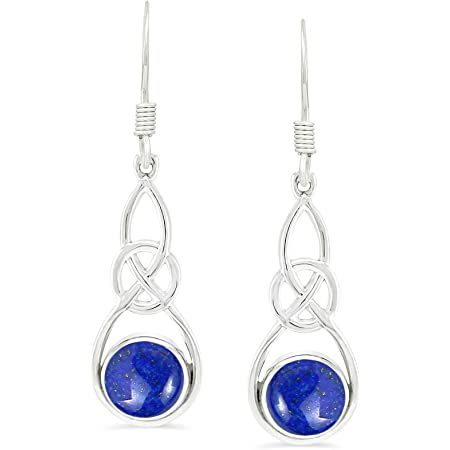 925 Sterling Silver Natural Lapis Lazuli Drop French Earrings