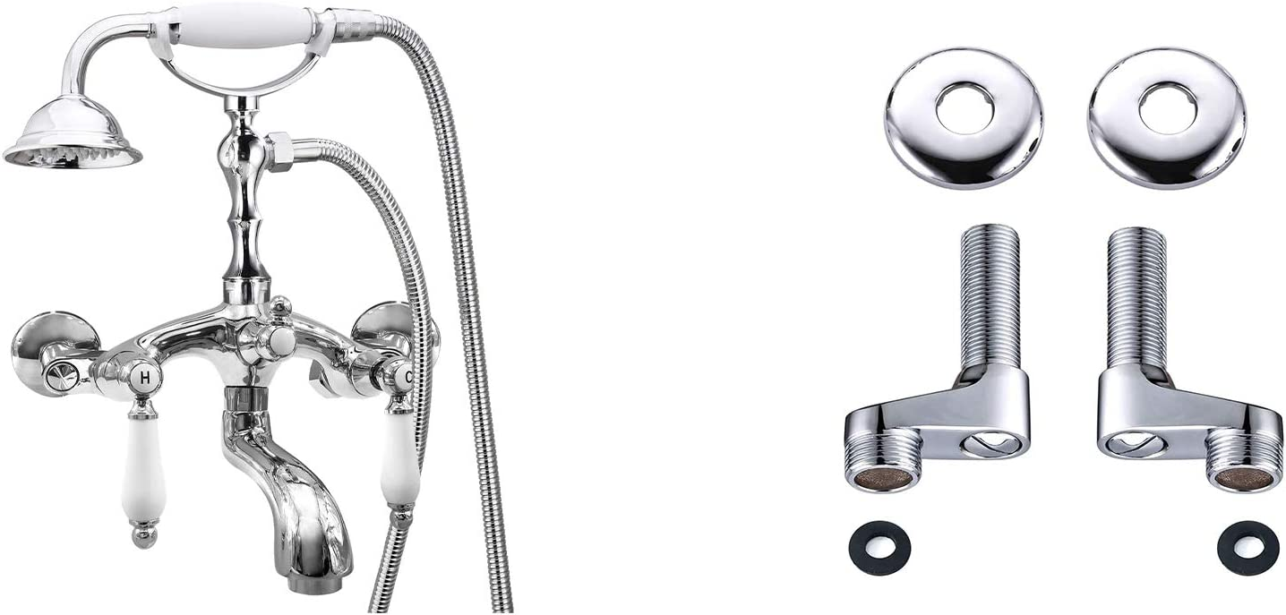 Polish Chrome Clawfoot Tub Faucet Wall Mount Held Hand Ba Baltimore Mall Shower Popular product