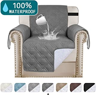 Turquoize 100% Waterproof Chair Covers for Living Room Sofa Cover for Pets Leather Couch Cover Chair Protector Non Slip Furniture Protector Quilted Couch Protector, Machine Washable (Chair 21, Gray)