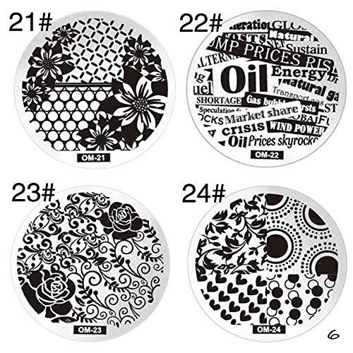Nagelstempel van roestvrij staal, drukplaat, rond, manicure, nail art, decoratie, 4 stuks 6