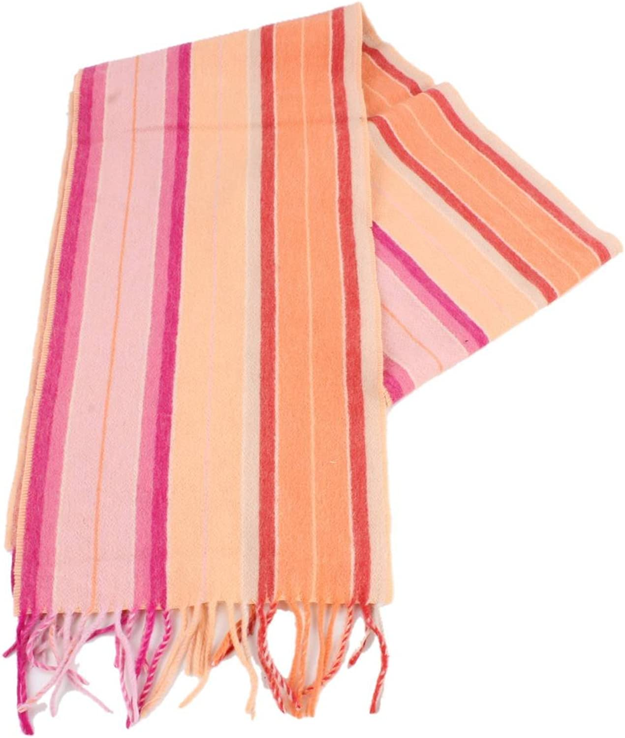 Bassin and Brown Womens Harvey Stripe Cashmere Scarf  orange Pink