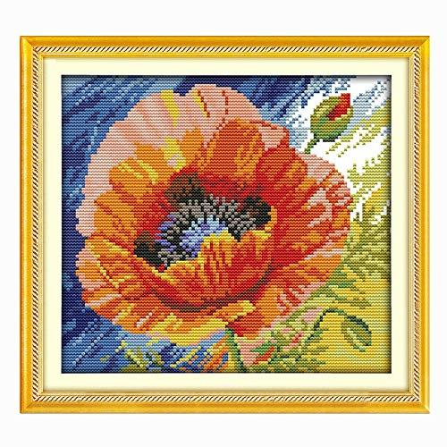 Orange Mohn gezählt 11CT 14CT Querheftung gesetzte DIY Eine kleine Blume Kreuzstich-Stickerei-Kit Needlework Home Decor Handgemachte Kreuzstich (Cross Stitch Fabric CT number : 14CT Unprinted)