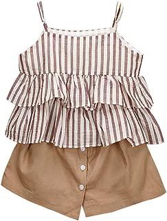 Pantaloncini Set Cotone Harpily Tuta Bambino Estate 2-7 Anni Completo Bambina Ragazze Ragazza 2 Pezzi Tute Maglietta Gilet Senza Manica