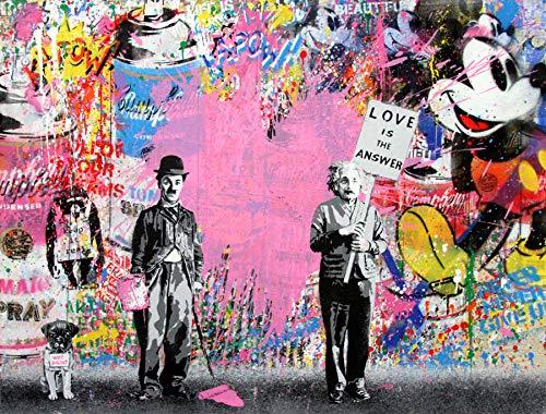 "Orlco Art Graffiti Art Toile Banksy Graffiti Peinture Einstein Chaplin Post Rose Coeur Art Prints Street Urben Peinture Art Coloré 40""X 28"""