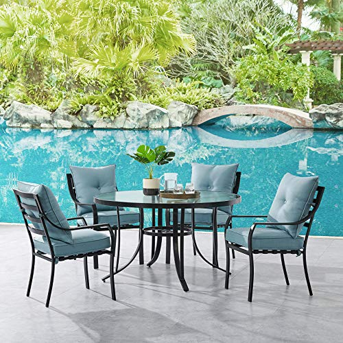 Hanover LAVDN5PCRD-BLU Lavallette 5-Piece Ocean Blue with 4 Stationary Chairs and a 52-in. Round Glass-Top Table Outdoor Dining Set