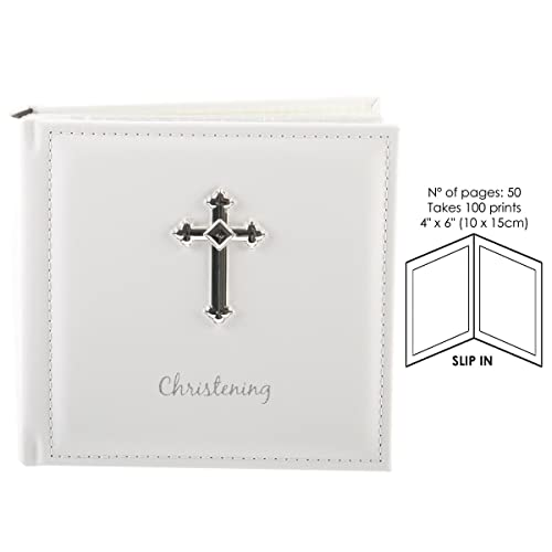 "Christening Photo Album 6x4/"" with silver cross design 72571"