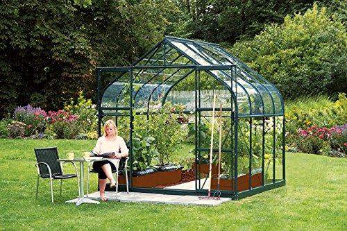 Vitavia Gewächshaus Diana - Ausführung:6700 ESG 3 mm Grün, Fläche:ca. 6,7 m², Fenster:2, Maße:263 x 258 cm, Sockel:255 x 255 cm,