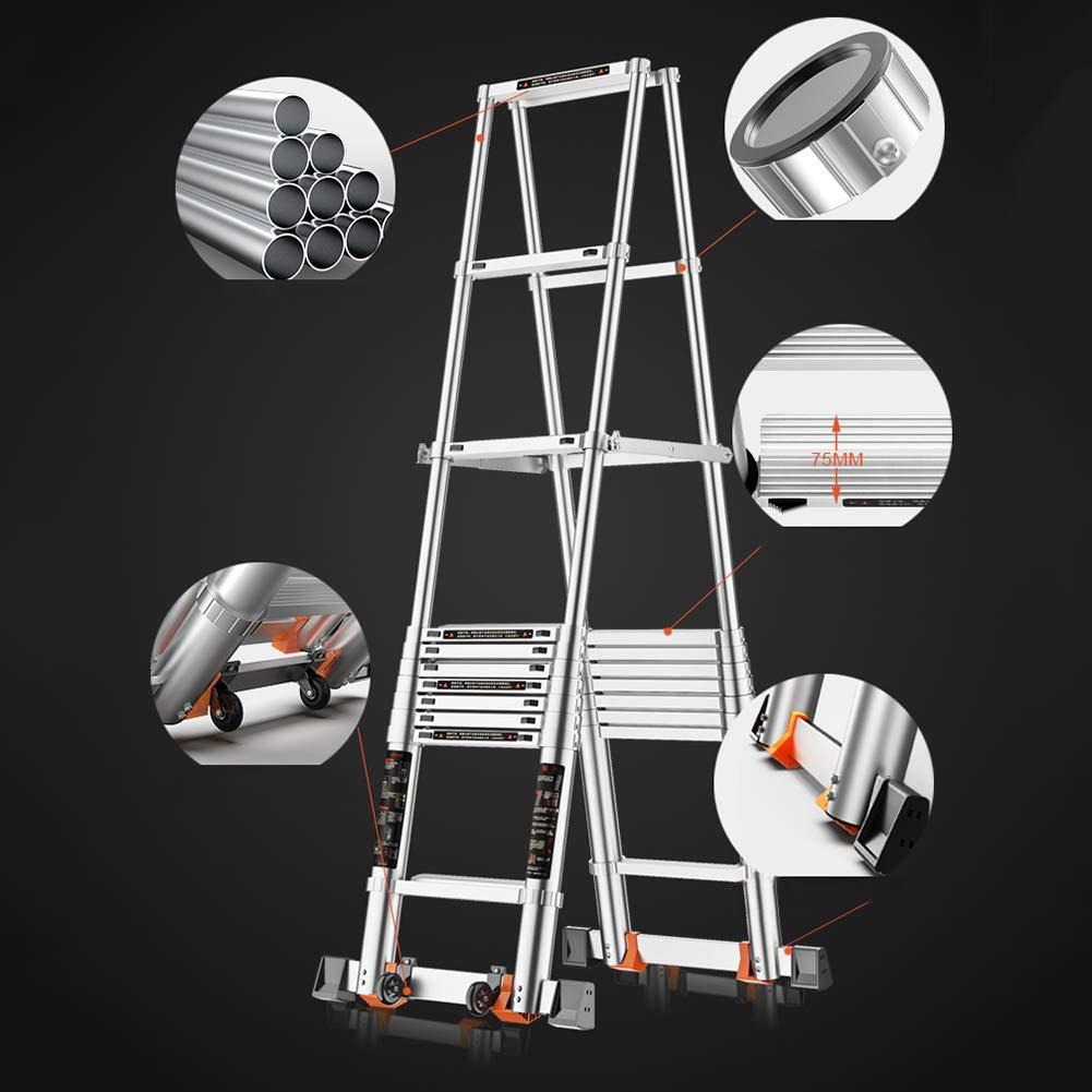 Escaleras Telescópicas Multifunción 12.5ft de aluminio telescópica Escalera, Escalera Portátil telescópica espiga, Escaleras Ingeniería Loft acceso DIY Extended, 150 kg de carga (Size : 3.8m/12.5ft) : Amazon.es: Hogar