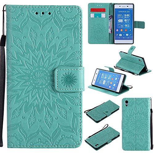 Lomogo Xperia Z3+ (Z3 Plus) Hülle Leder, Schutzhülle Brieftasche mit Kartenfach Klappbar Magnetverschluss Stoßfest Handyhülle Case für Sony Xperia Z3+ (Z3Plus) - KATU22945 Grün