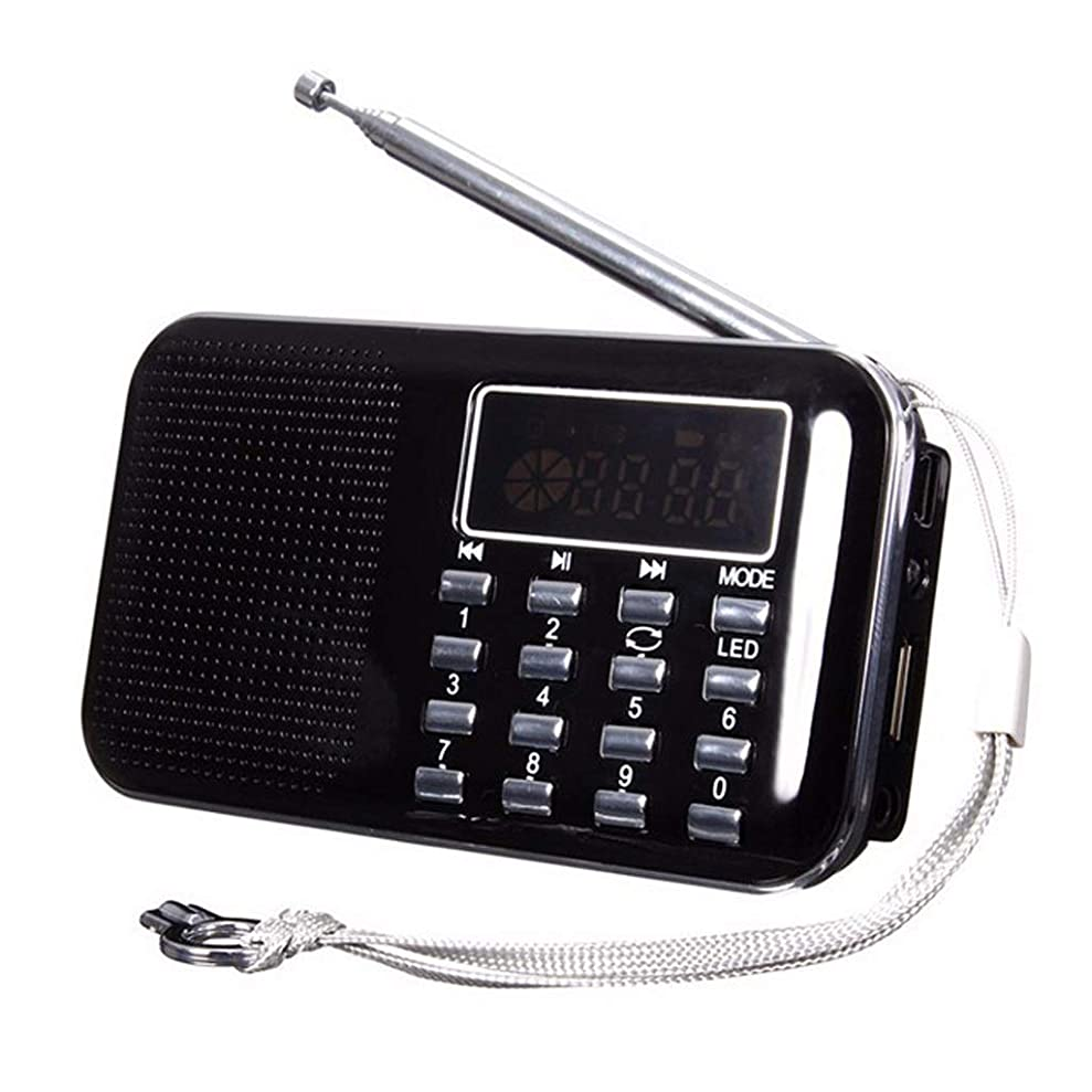 臭い家事をする動員するミニラジオ超薄型カード小型スピーカーオーディオデジタルポイントシンガーマシン (Color : Black)