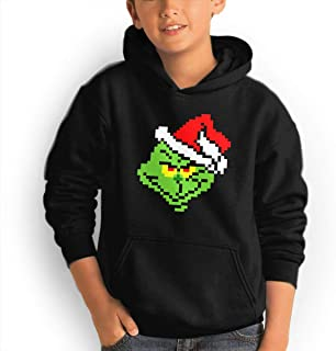 Youth Hoodie Grinch Pixel Art 100% Cotton Casual Long Sleeve Sweatshirt Pullover with Pockets for Boys and Girls