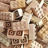 Mokulock ML-BS024-R Kodomo Holz Bausteine, 34 Steine, kompatibel mit allen bekannten Bausteinmarken, nachhaltig produzierte Holz Spielsteine