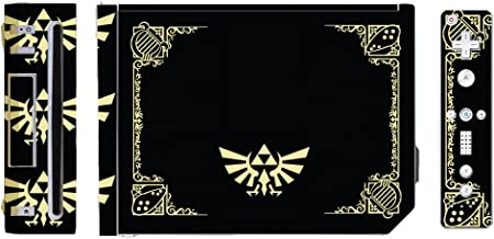 Legend of Zelda Triforce Logo Special Edition Black Gold Video Game Vinyl Decal Skin Sticker Cover for the Nintendo Wii System Console