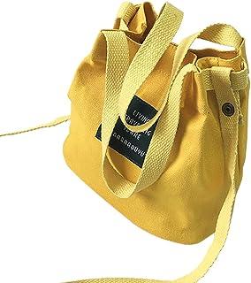 LYCOS3 LYCOS3 Damen Handtasche aus Segeltuch, Mini-Schultertasche, tragbar, Umhängetasche, für Damen und Mädchen, gelb, Free Size