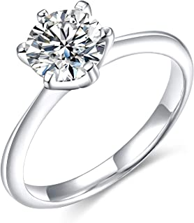 CZ Engagement Rings for Women Solitaire Cubic Zirconia 1ct 925 Sterling Silver Wedding Band Size 5-12