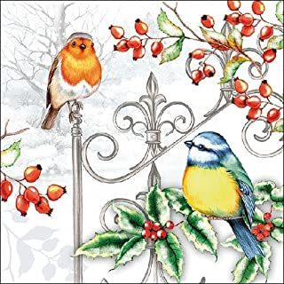 Ambiente papieren servetten Lunch/Feest/ca. 33x33cm Vogels & Hulst -Kerstmis - Ideaal als cadeau en decoratie