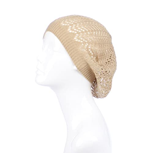 5be0b832e4a BSB Womens Knit Beanie Beret Hat Lightweight Fashion Accessory Crochet  Cutouts