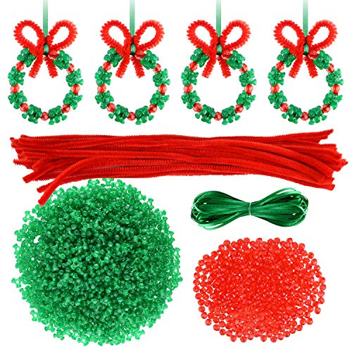 CHRORINE 30 Pcs Christmas Beaded Ornament Kit Christmas Craft Wreath Bead Tri-Shaped DIY Beads for Christmas Tree Hanging Christmas Party Decoration
