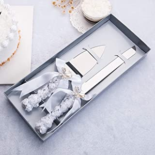 DÉCOCO 2 PCS Silk Rose Ribbon with Pearl Butterfly Bow Style Stainless Steel Wedding Cake Knife Cutter Server Set for Wedding Anniversary, Engagement, Birthday Party with Gift Box