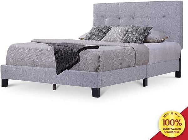 Hooseng 耐用的木质软垫平台床架床垫基础与木条支撑和簇绒床头板浅灰色全