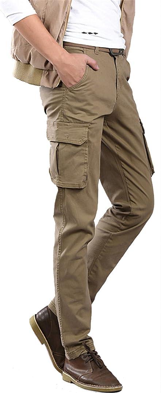 Wsirmet Men's Slim Fit Straight Leg Elastic Sports Casual Multi-Pockets Cargo Pants