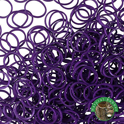 Rubber Bands 1000 Pcs Mini Size No Break & Damage Stretchy Elastic Premium Quality Made in Vietnam Hair Ties (Purple - 4 Pack of 250 Pcs)