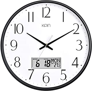 Kpin Classic Wall Clock 13 Inch Large Non Ticking Quiet Quartz Clock for Living Room/Office (Black, 13