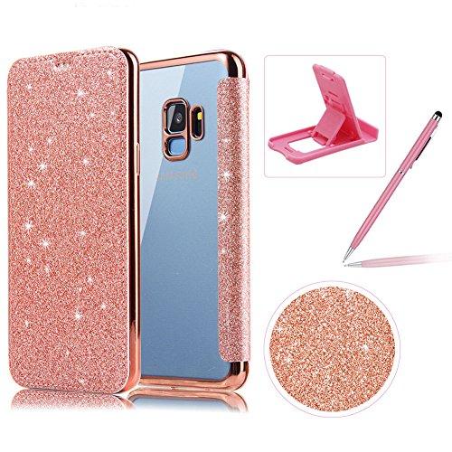 Coque pour Samsung Galaxy S9 Plus Clapet Paillettes Étui en Cuir, Herzzer Glitter PU Leather Case avec Transparente TPU Silicone Placage cover Protector Fonction Stand et Fente Carte - Rose Gold