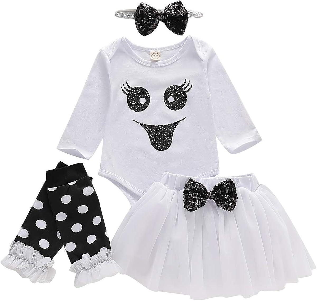 GRNSHTS Baby Girls Halloween Outfits Toddler Ghost Long Sleeve Romper+Tutu Skirt+Bowknot Headband+Leg Warmer 4Pcs Clothes