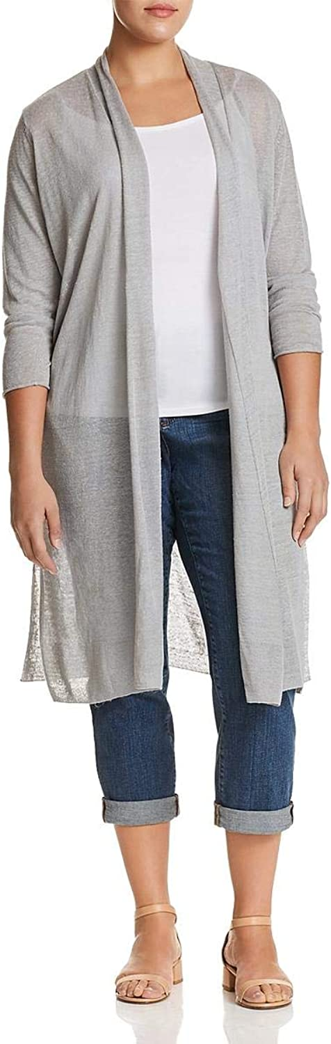 Nic + Zoe Womens Plus Linen OpenFront Duster Sweater