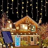 216 LED Lichterkette, 5.5M Eiszapfen Lichter Solar Lichterkette Aussen, 8 Leuchtmodi Dimmbar, Eisregen Lichtervorhang mit Remote Timer, Außen Innen Deko für Weihnachten Garten Party Hochzeit Winter