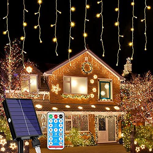 216 LED Lichterkette, 5.5M Eiszapfen Lichter Solar Lichterkette Aussen, 8 Leuchtmodi Dimmbar, Eisregen Lichtervorhang mit Remote Timer, Außen...