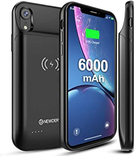NEWDERY Upgraded iPhone XR Battery Case Qi Wireless Charging Compatible, 6000mAh Slim Extended Rechargeable External Portable Charger Case Compatible iPhone XR (6.1 Inches Black)