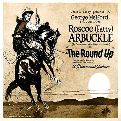 Posterazzi The Round-Up Roscoe 'Fatty' Arbuckle On 'Title Lob Print by Card Set 1920. Movie Poster Masterprint, ((28 x 22)