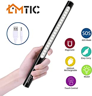 LMTIC Under Cabinet Light, Touch Control 4 Lighting Modes Closet Light, 2000mAH Rechargeable Led Stick Light for Kitchen, Wardrobe, Camping, Basement, Video Photography Makeup, Black