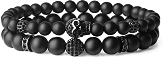 COAI Set Due Bracciali da Uomo in Onice Opaca e Amuleto Teschio, Bracciali in Pietre Naturali con Inserti in Rame e Zirconi