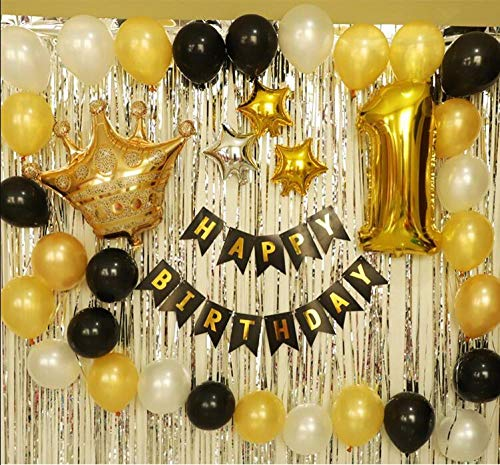 Find Discount Partyb0 First Birthday Decoration Balloon Set For Birthday Party Gold Foil Crown Latex...