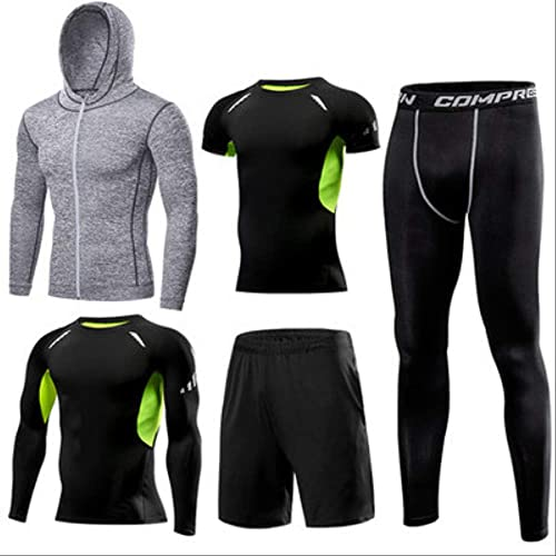 WSDYXY Séchage Rapide Hommes FonctionneHommest Ensemble Compression Basketball Sport Suit Gym Football Fitness FonctionneHommest Training Suit Hommes Jogging Ensemble 5 Pièces Set 3XL 7