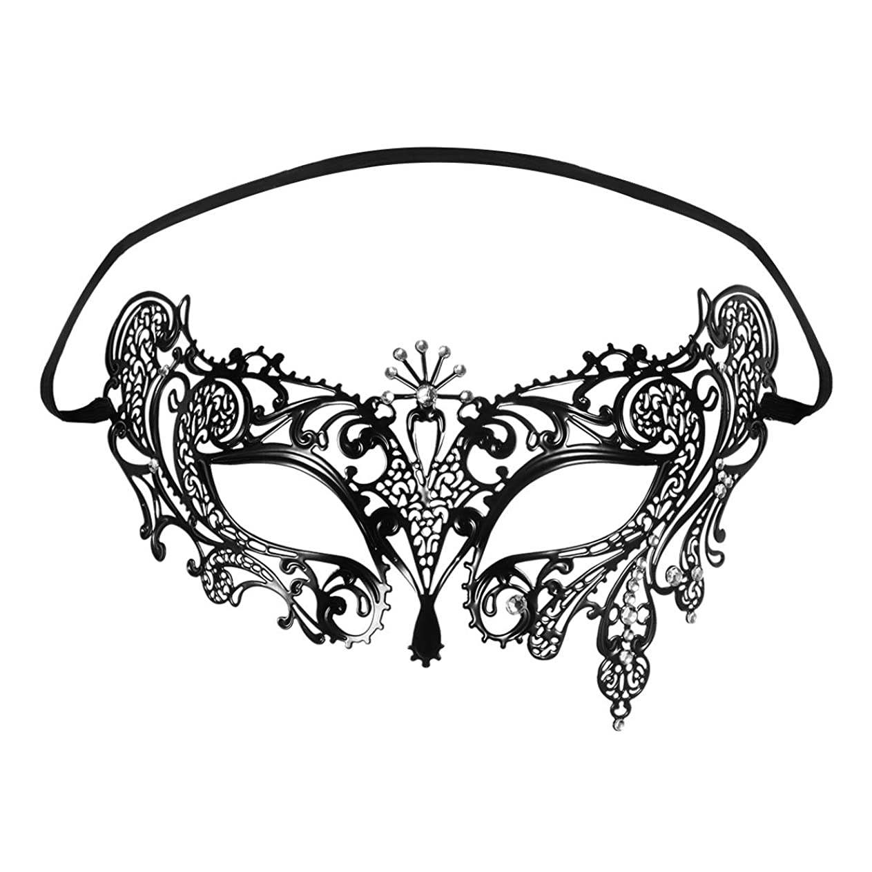 眠っている黒板ブースFoxnovo Foxnovoファッション高級ベネチアンスタイルディアマンテメタルフィリグリー仮装用マスク結婚式/パーティー用(ブラック)