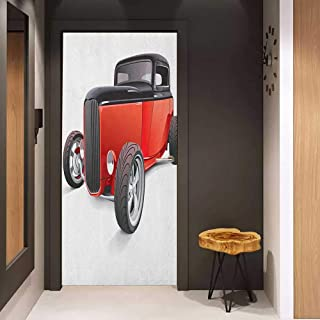 Onefzc Soliciting Sticker for Door Cars Nostalgia Red Hot Rod American Culture Retro Revival Classics Collectors Car Mural Wallpaper W35.4 x H78.7 Red Black White