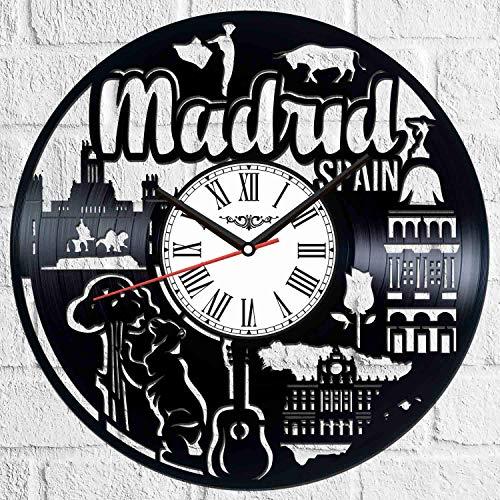 Silversart Madrid España - Reloj de pared de vinilo estilo retro, silencioso, decoración para el hogar, arte especial, accesorios para el hogar, regalo creativo